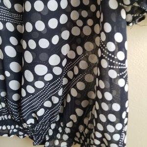 Marina Luna Tops - Marina Luna Black Dot Sheer Ruffle V-neck Top, XL